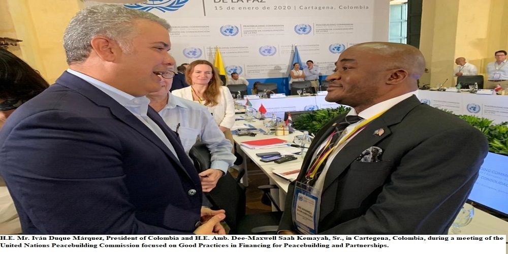 Ambassador Kemayah Addresses Un Peacebuilding Commission Meeting In Colombia Gets Commitment From Colombian President Marquez To Help Address The Problem Of Drug Use In Liberia